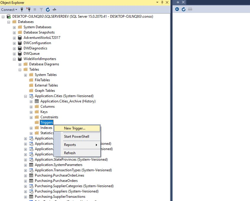Creating trigger in ssms Step 1